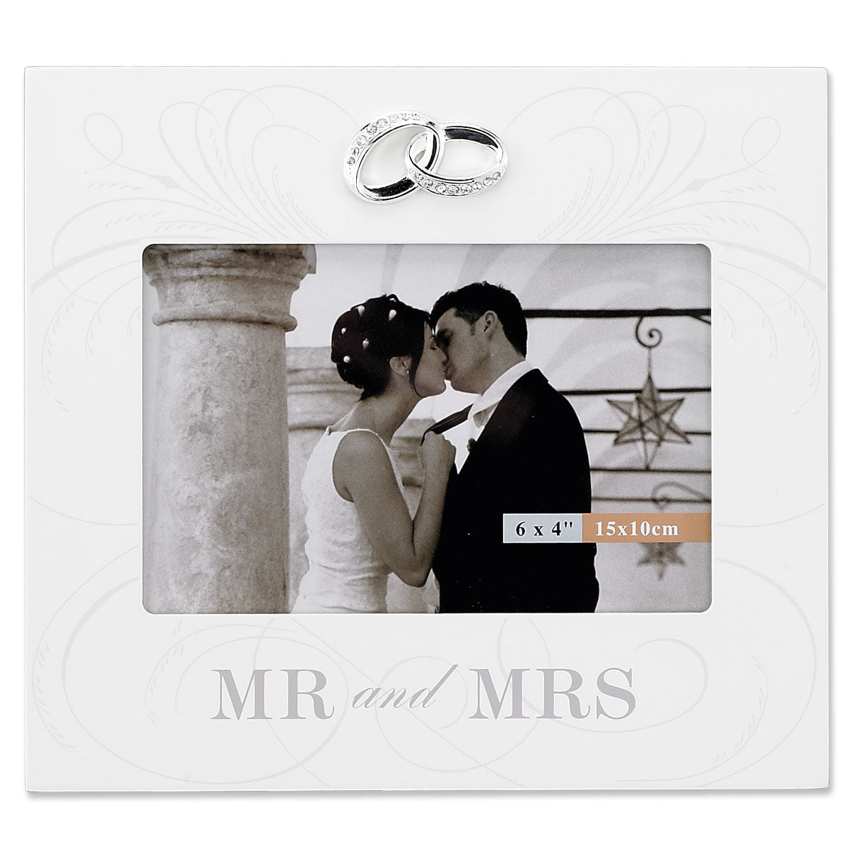 6x4 Ivory Wood Mr. And Mrs. Wedding Picture Frame Silver Interlocked Rings Ornament with... by Lawrence Frames
