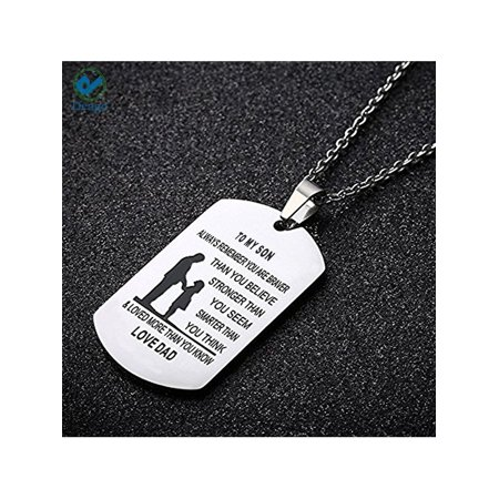 Deago Dad Mom To son Newborn Gift Dog Tag Necklace Military Mens Jewelry Personalized Design Dogtags Pendant Love Gift