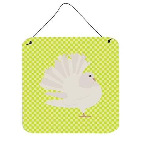 Silver Fantail Pigeon Green Wall or Door Hanging Prints, 6 x 6 in.