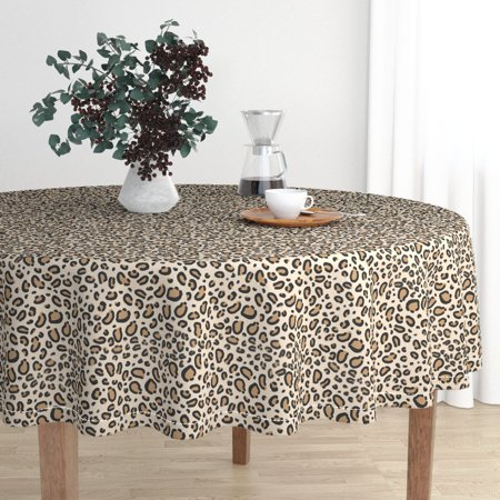 Round Tablecloth Animal Print Animal Print Leopard Cheetah Animal Cotton Sateen - Animal Print Tablecloth