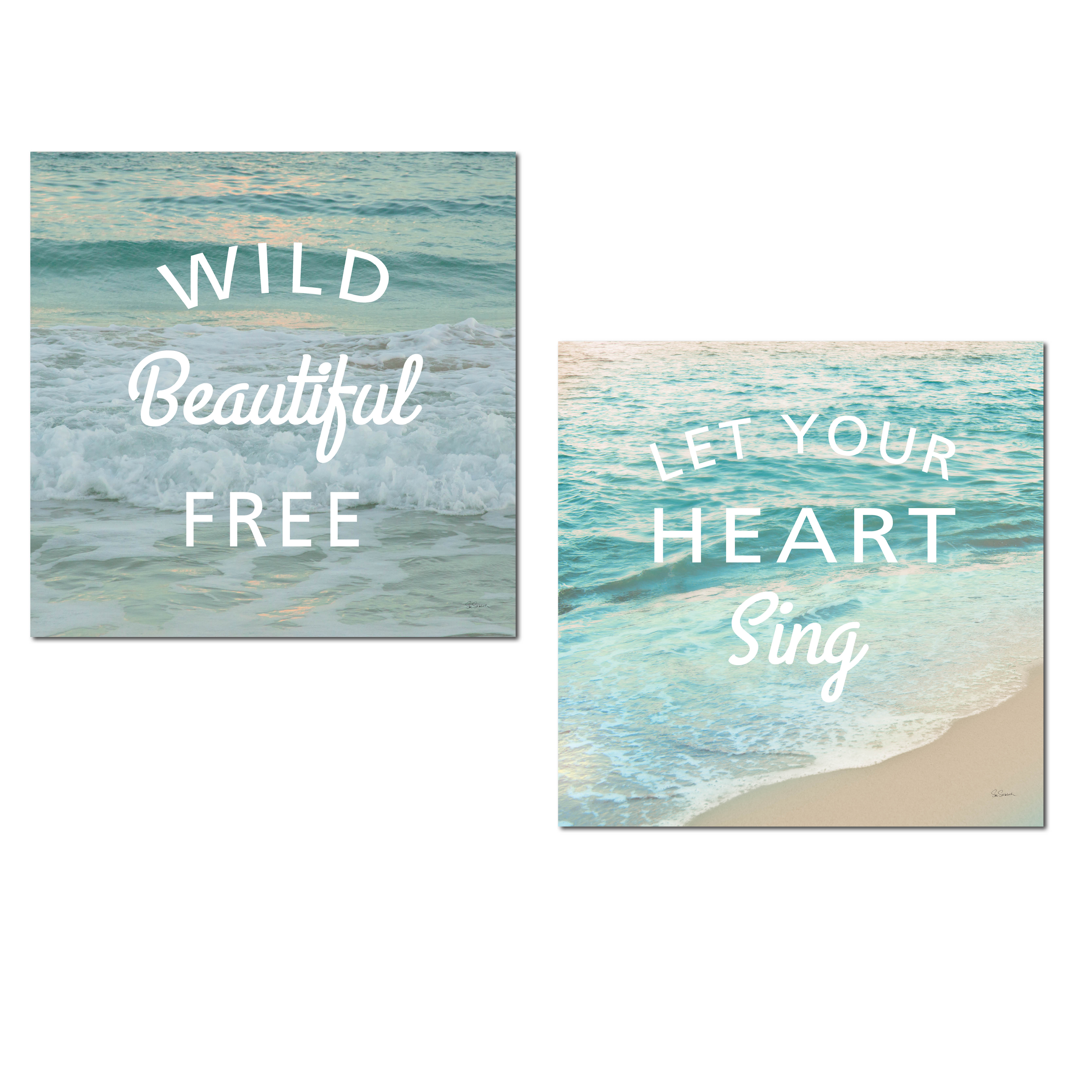 "Beautiful Inspirational ""Wild Beautiful Free"" and ""Let Your Heart Sing' Ocean Wave Photograph Set by Sue Schlabach; Coastal Decor; Two 12x12in Paper Posters"