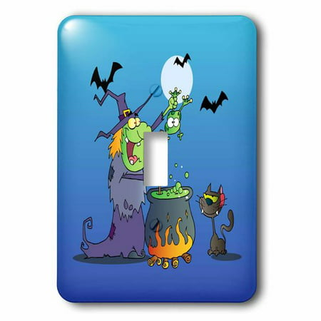 3dRose Funny Crazy Witch Preparing a Potion With a Frog In a Cauldron Silly Halloween Holiday Cartoon, Single Toggle Switch](Halloween Cartoon Cauldron)