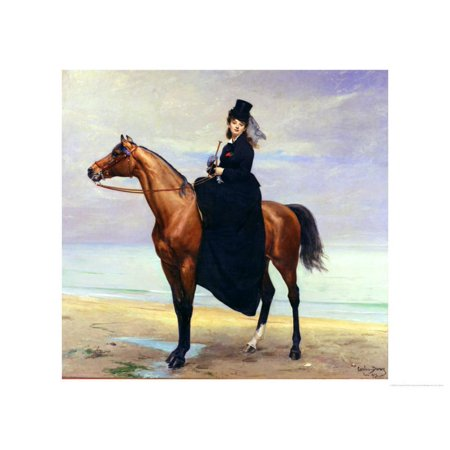 Equestrian Portrait of Mademoiselle Croizette, 1873 Print Wall Art By Charles Émile -