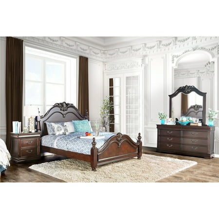 Furniture of America Bastillina Traditional Cherry 4-piece Poster Bedroom Set ()