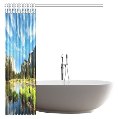 POP Landscape Shower Curtain, Mountain and Convict Lake with Reflections in Yosemite Countryside Scene Bathroom Shower Curtain 66x72 inch - image 1 of 3