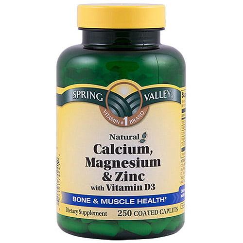 Spring Valley Calcium Magnesium & Zinc Bone Health Dietary Supplement 250 ct