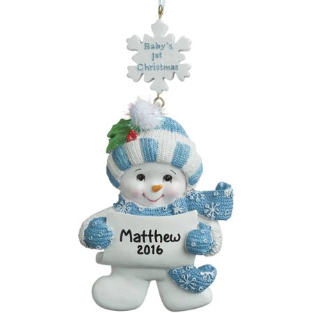 First Christmas Carriage (Baby's 1st Christmas Personalized Christmas Ornament, Boy Snowman)