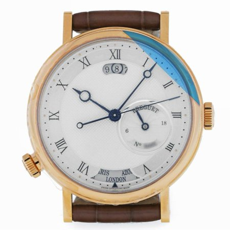 Pre-Owned Breguet Classique 5617BA Gold  Watch (Certified Authentic & Warranty) Breguet, Classique, 5617ba, Automatic Self Wind, Used, Production Year:2018, Case Material: Gold Filled, Dial Type: Analog, Dial Color: Silver, Crystal: Synthetic Sapphire, Band Material: 0, Band Color: Brown, Band Length: 7.7in, Box And Papers, External Condition: Excellent,