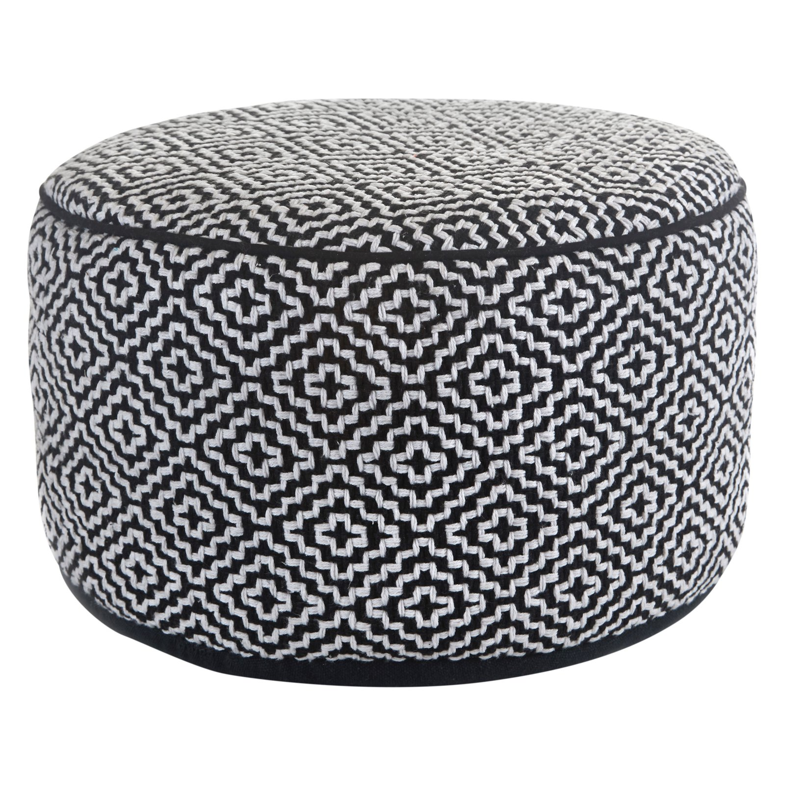 Klear Vu Maison Black and White Wool Round Ottoman Pouf