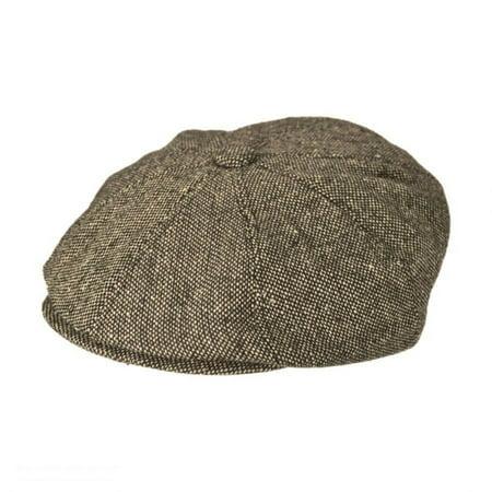 Marl Tweed Wool Blend Newsboy Cap - XXL - Brown