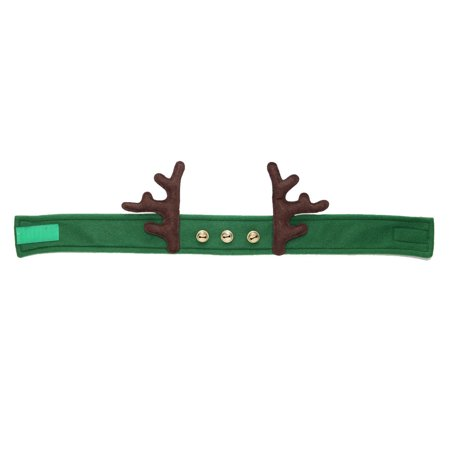 "24"" Green Antler and Bell Fleece Adjustable Christmas Headband - Christmas Headband Ideas"