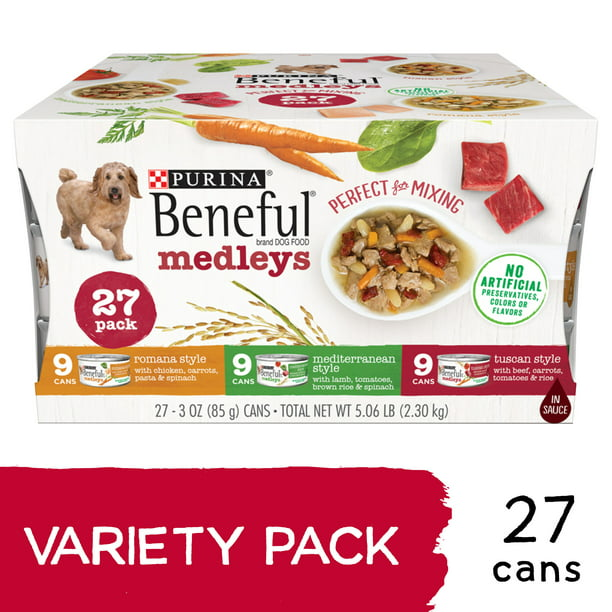 (27 Pack) Purina Beneful Wet Dog Food Variety Pack, Medleys Tuscan, Romana & Mediterranean Style, 3 oz. Cans