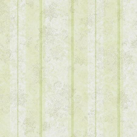 York Wallcoverings Botanical Fantasy WB5466 Magnolia Silhouette Stripe Wallpaper Off White Beige Green
