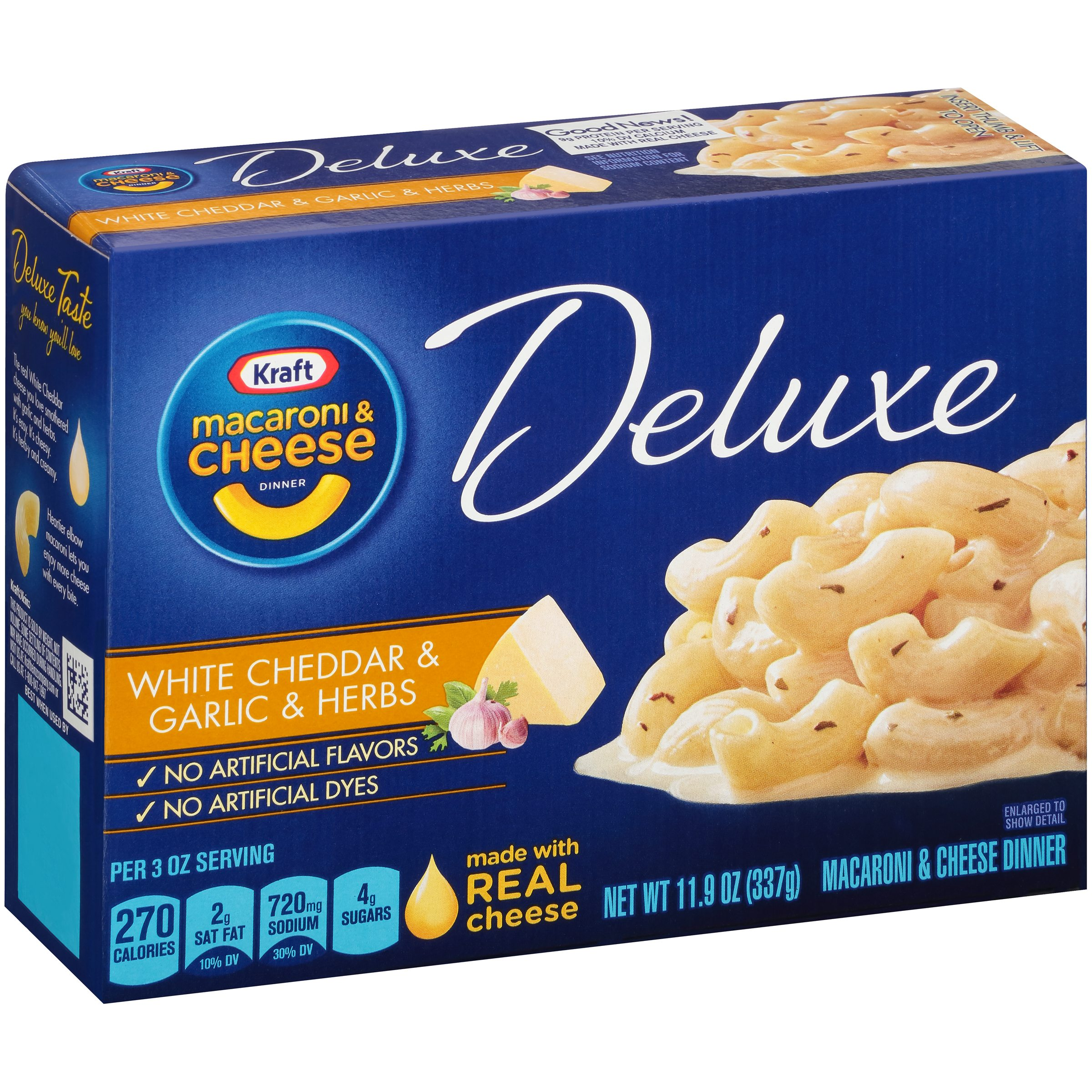 Kraft Deluxe White Cheddar & Garlic & Herbs Macaroni & Cheese Dinner 11.9 oz. Box by Kraft Heinz Foods Company