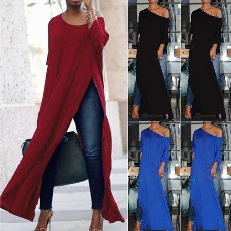 New Women Off The Shoulder Casual High Split Crop Tops Long Maxi Shirt Blouse Off Shoulder Crop