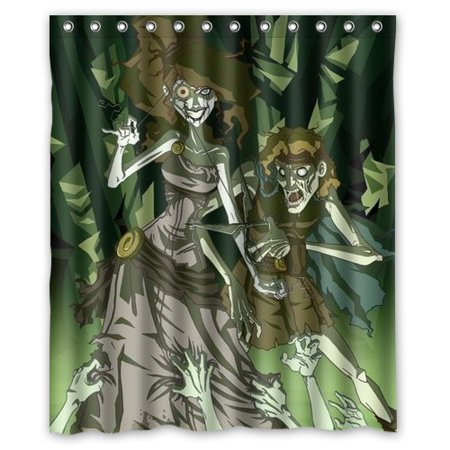 DEYOU Beautiful Scary Terrible Zombie Princesses Shower Curtain Polyester Fabric Bathroom Shower Curtain Size 60x72 - Scary Princesses