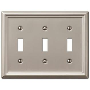 Tiffany Style Oval Silver Toggle - Triple Toggle 3-Gang Decora Wall Switch Plate, Brushed Nickel
