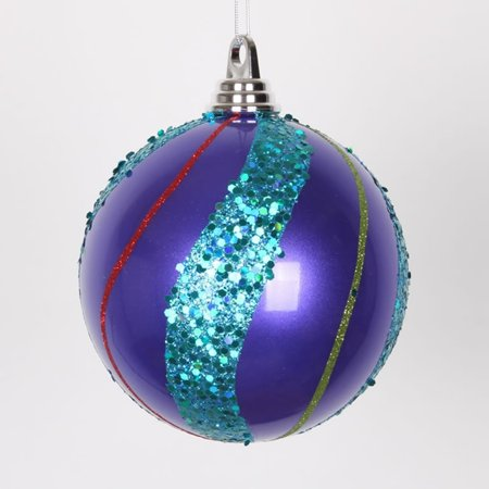 set of 4 purple lime green red pink and turquoise blue glittered ball - Purple And Lime Green Christmas Decorations
