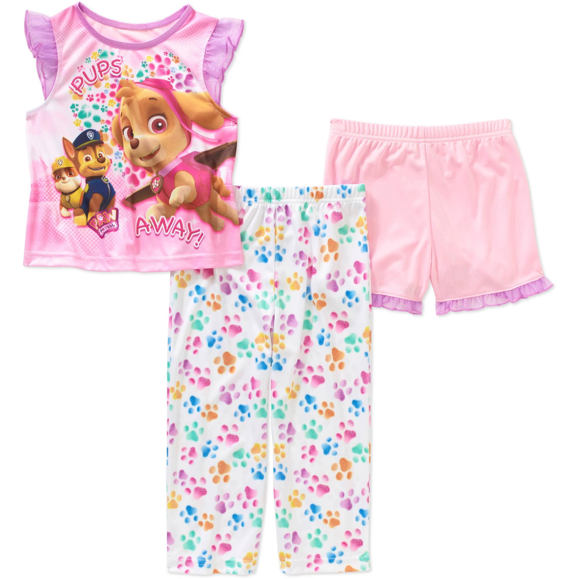 Paw Patrol Baby Toddler Girl Shor Sleeve 3-Piece Sleepwear Set