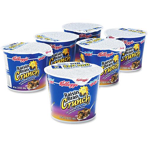 Kellogg's Raisin Bran Crunch  Cereal Cups Single Serve (6 Single Serve Packs)