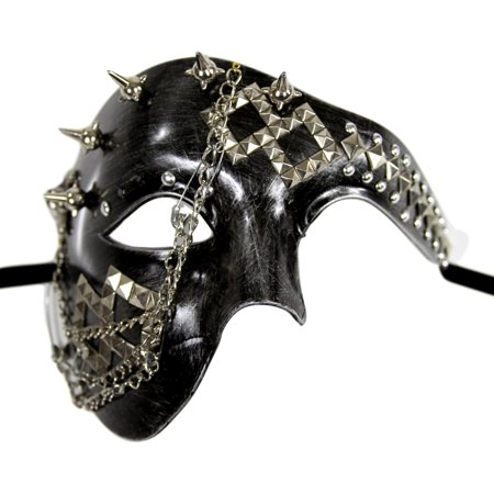 Silver Steam Punk Chains Studs Phantom Half Face Halloween Masquerade Mask - Half Normal Half Halloween Face