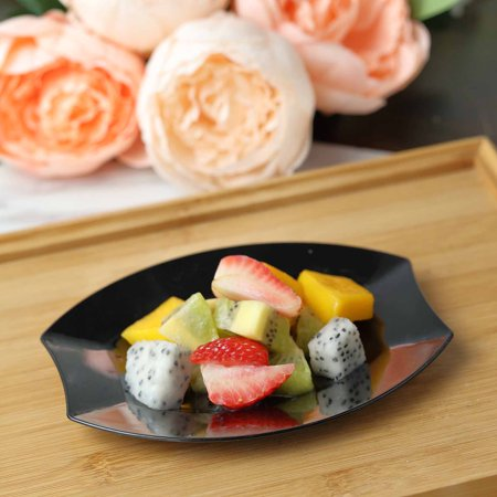 Balsacircle Disposable Plastic Oval Plates For Wedding Reception