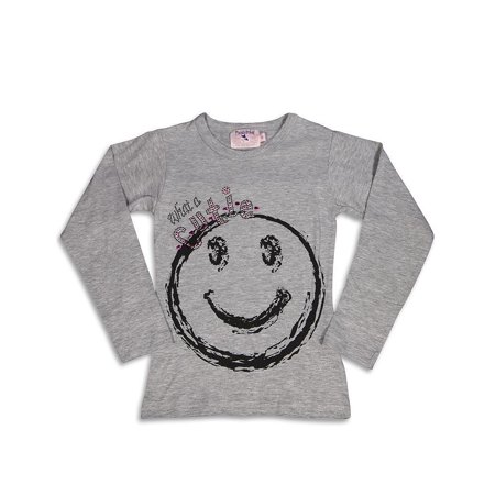Purple Orchid - Little Girls Long Sleeve Top GRAY / 5