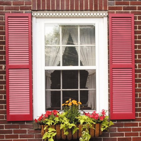 Awc exterior window shutters louvered pair - Exterior louvered window shutters ...