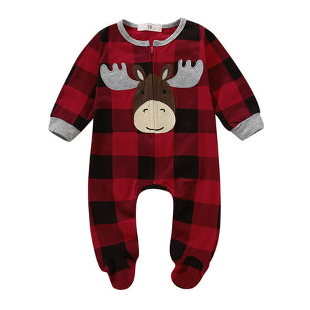 Kids Clothing Stores Online (Infant Baby Boy Girl Plaid Deer Christmas Romper Bodysuit Outfit Kids Long Sleeve Fall Warm Xmas Jumpsuit Clothes (3-6)