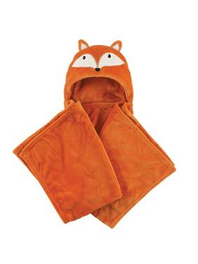 Hudson Baby Boy and Girl Animal Hooded Blanket - Orange Fox