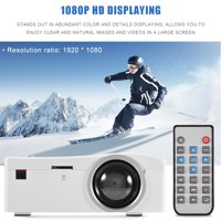 1080P Mini Portable LED Projector HD HDMI Media Player Home Theater with Cooling Fan US Plug(White)