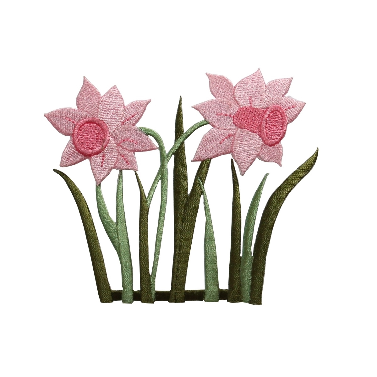 ID 6294 Pink Daffodil Flowers Patch Garden Blossom Embroidered Iron On Applique