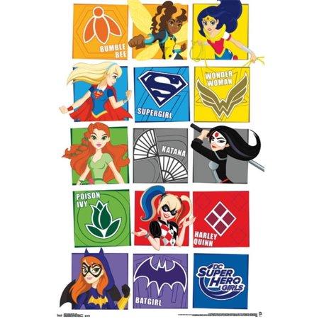 DC Super Hero Girls - Grid Poster - 22x34 - Vintage Superhero Posters