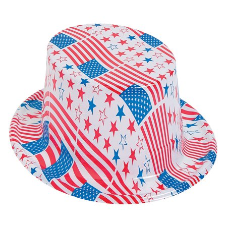Fun Express - Patriotic Plastic Hat White 1pc for Fourth of July - Apparel Accessories - Hats - Novelty Bulk Hats - Fourth of July - 1 - Bulk Hats