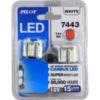 Pilot Automotive (IL-7443W-15-AM) White 15-SMD LED Turn/Tail Light Bulb - 2