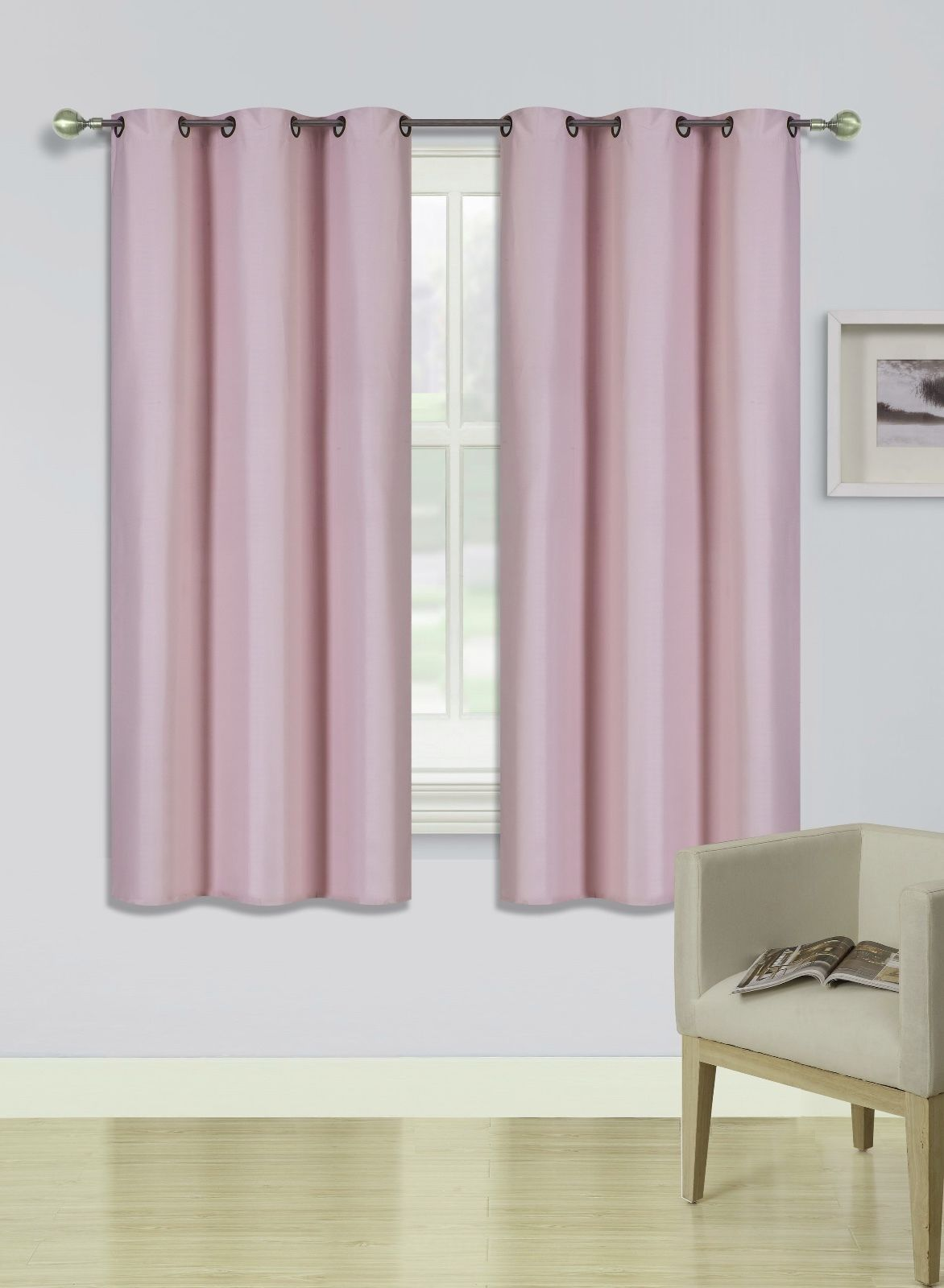 """(SSS) 2-PC Pink Solid Blackout Room Darkening Panel Curtain Set, Two (2) Window Treatments of 37"""" Wide x 63""""... by"""