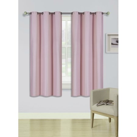 (SSS) 2-PC Pink Solid Blackout Room Darkening Panel Curtain Set, Two (2) Window Treatments of 37