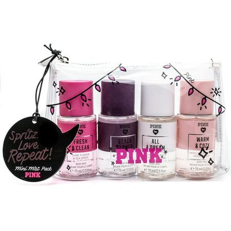 Victoria's Secret PINK Body Mist Gift Set: Fresh & Clean, Beach Flower, All A Dream, Warm & Cozy   (each 2.5 Fl