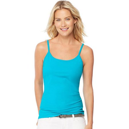 00 Womens Stretch Cotton Camisole with Built In Shelf Bra, Flying Turquoise - 2XL Built In Shelf Bra
