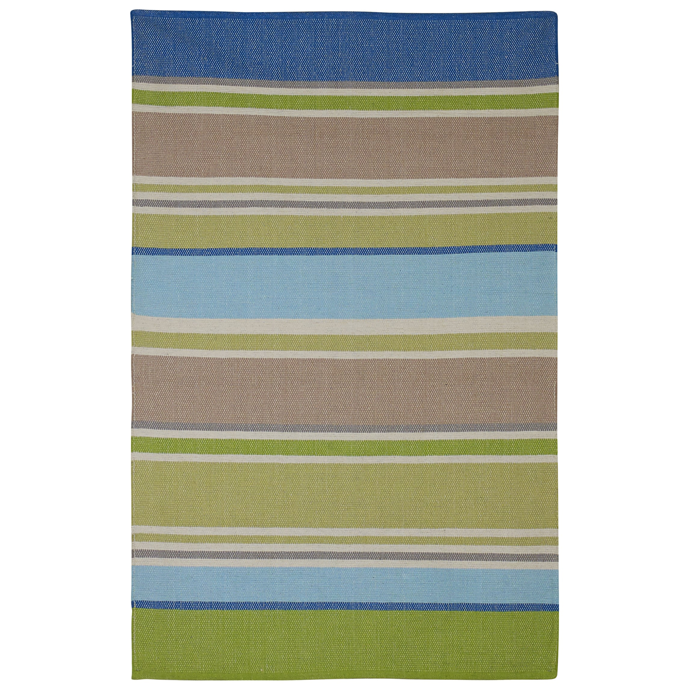 Fab Habitat Handmade Indo Hope Blue and Green Multicolored Cotton Rug (8' x 10')