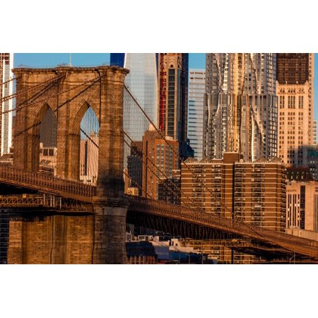 Brooklyn Bridge and Manhattan Skyline features One World Trade Center at Sunrise, NY NY Print Wall