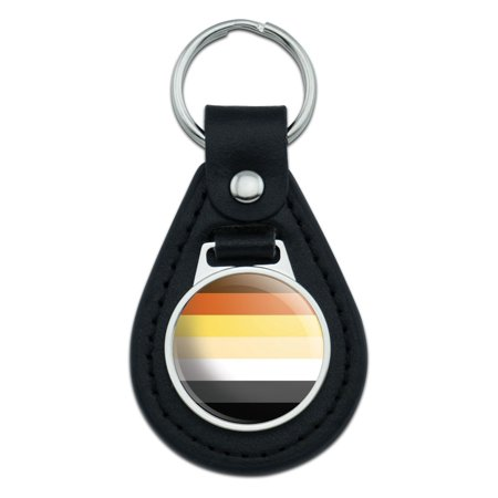 Bear Brotherhood Gay Pride Flag Black Leather Keychain