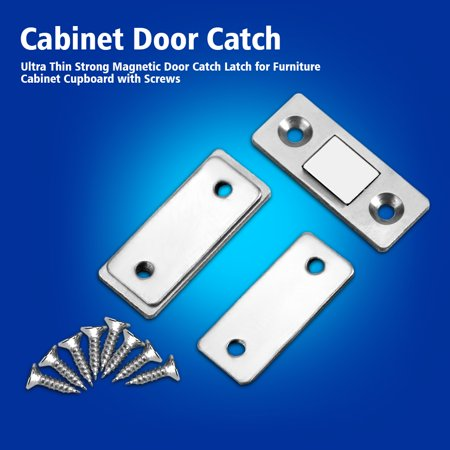 Ultra Thin Strong Magnetic Door Catch Latch for Furniture Cabinet Cupboard  with Screws, Cabinet Door Catch, Cupboard Door Magnet