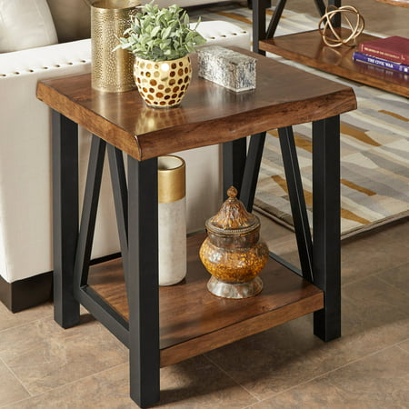 Weston Home Rustic Metal Base End Table with Natural Edge Table Top and Lower shelf (Base End Shelf)
