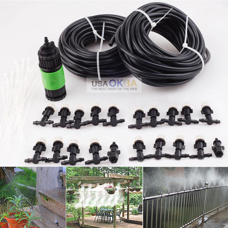 67' Garden Patio Water Misting Cooling System Mist Nozzle Sprinkler Irrigation with Automatic Watering Timer