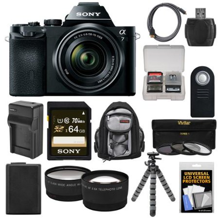 Sony Alpha A7 Digital Camera & 28-70mm FE OSS Lens with 64GB Card + Battery & Charger + Backpack +... by