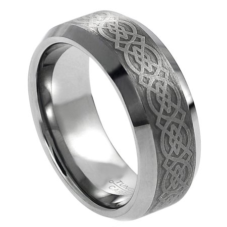 - 8mm Tungsten Carbide Beveled Edge Brushed Center with Celtic Design Wedding Band Ring For Men Or Ladies
