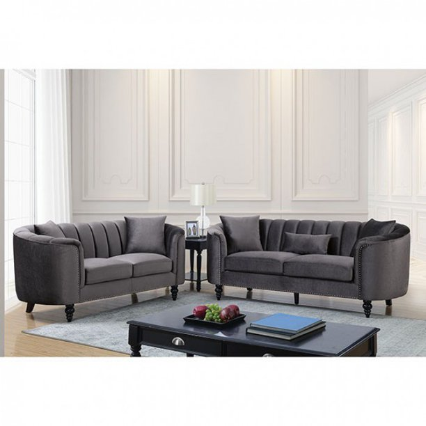 Contemporary Style Gray Fabric Nailhead Trim 2pc Sofa Set Living Room Furniture
