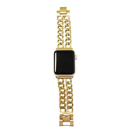 Double Row Chain Link Apple Watch Band in Gold - Apple Watch Series 1, 2, 3, 4