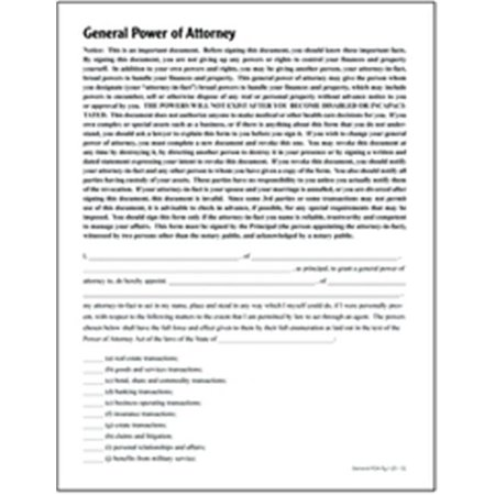 Adams LF205 General Power of Attorney Form Walmart – General Power of Attorney Forms